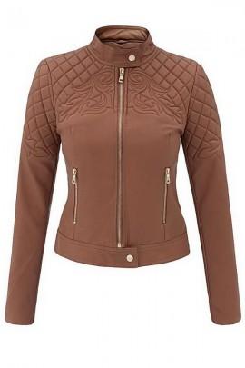 Куртка-пилот FASHIONAVENUE женская с орнаментом Moto латте 94-BR