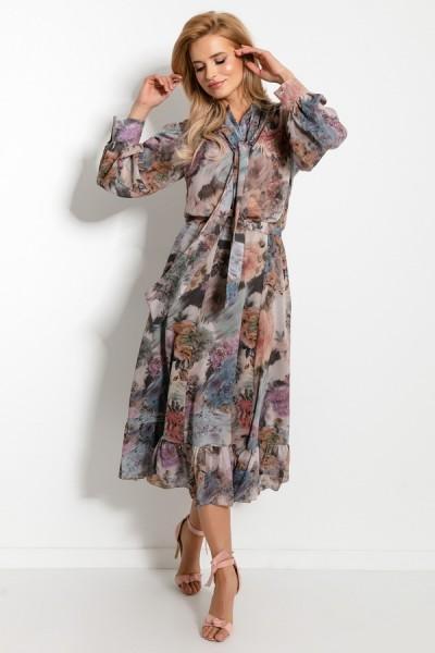 Комплект Fobya f913 цветочный беж (юбка+блузка)