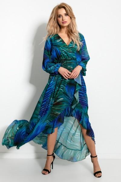 Платье Fobya f915 сине-зелёный коктейльное