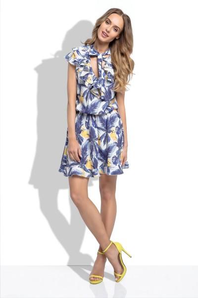Платье Fimfi i254 жёлто-голубой
