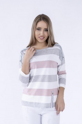 Блуза Hajdan BL 1068 белый-серый-роз
