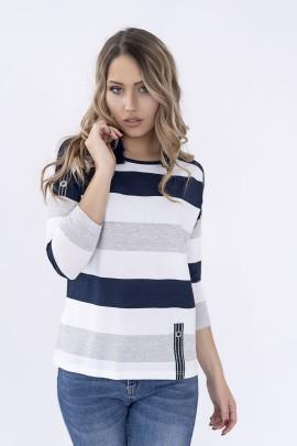 Блуза Hajdan BL 1068 синий-белый-серый