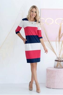 Платье Hajdan SUK 007 коралл-син-лён