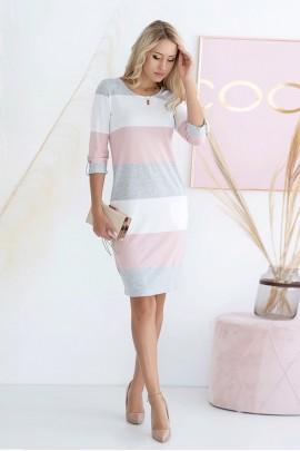 Платье Hajdan SUK 007 роз-белый-серый