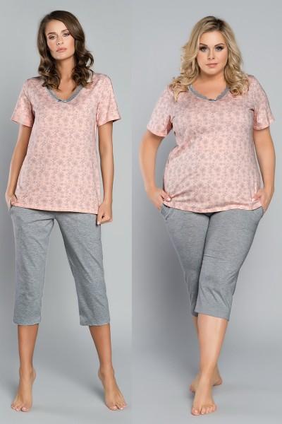 Пижама TRINA брюки 3/4 лосось/меланж
