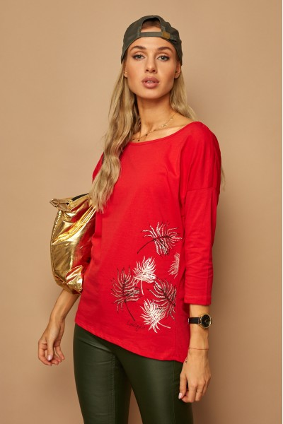 Блузка LAMAJKA 9244 SIZE+ красный хлопок