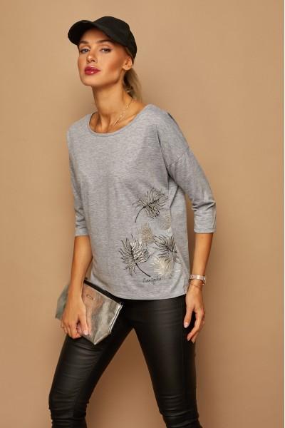 Блузка LAMAJKA 9243 серый меланж хлопок