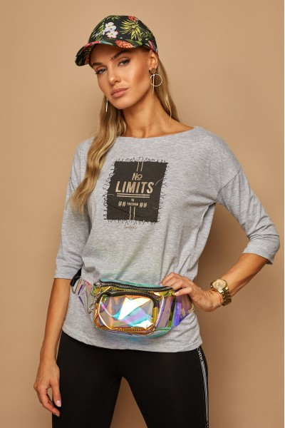 Блузка LAMAJKA 9253 серый меланж хлопок