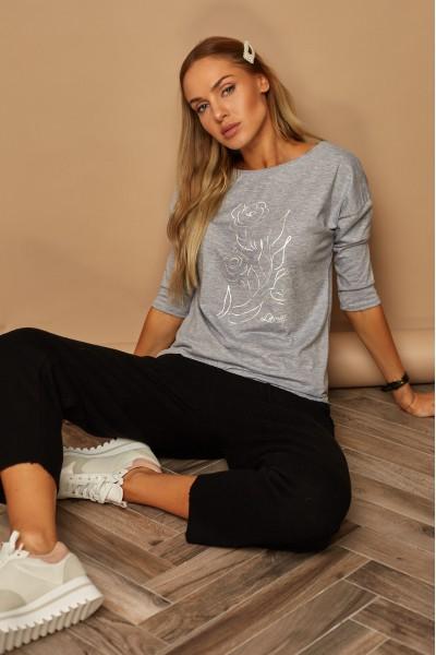 Блузка LAMAJKA 9260 SIZE+ серый меланж хлопок