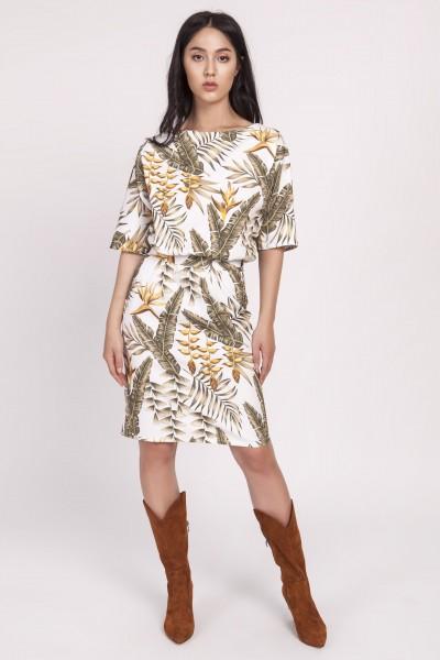 Платье SUK123 листики экрю