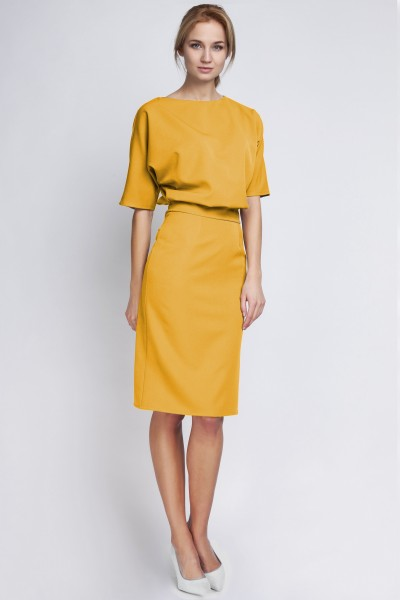 Платье SUK123 горчица