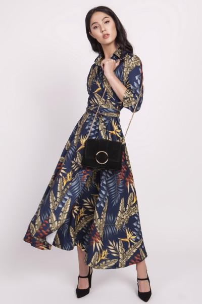 Платье SUK171 листики тёмно-синий