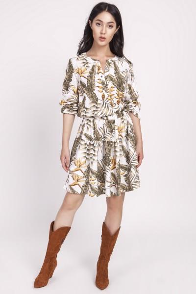 Платье SUK174 листики экрю