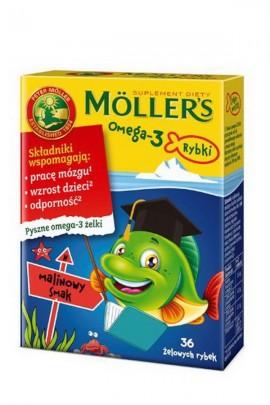 MOLLER'S Omega-3 Rybki - малина - 36 шт