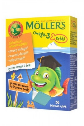 MOLLER'S Omega-3 Rybki - апельсин-лимон - 36 шт