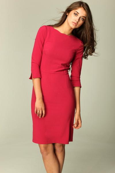 Платье NIFE S30 бордо с фигурной горловиной
