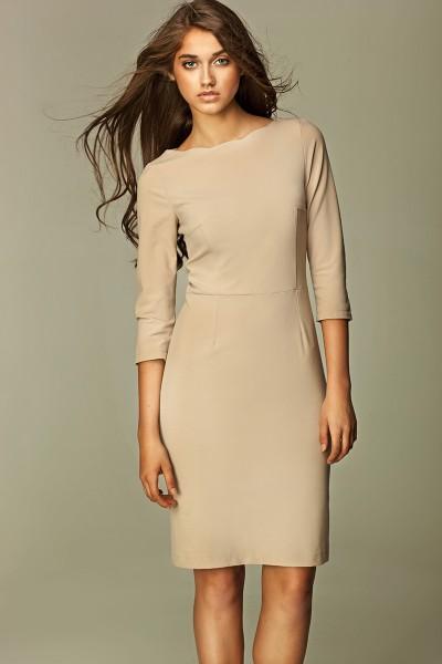 Платье NIFE S30 беж с фигурной горловиной