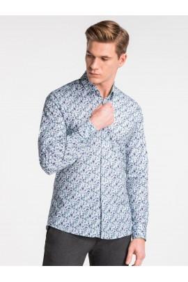 Рубашка OMBRE K491-biala/zielona