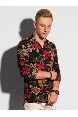 Рубашка OMBRE K569-czarna/czerwona