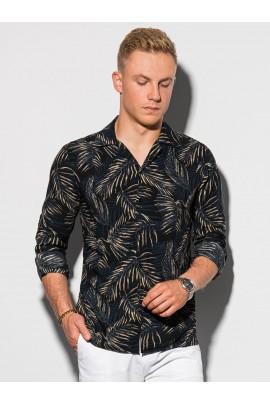 Рубашка OMBRE K571-czarna/bezowa