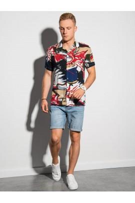 Рубашка OMBRE K574-biala/czerwona