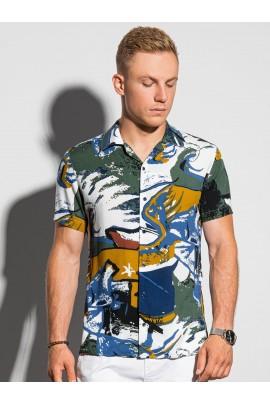Рубашка OMBRE K574-biala/zielona