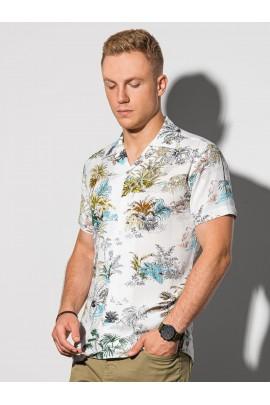 Рубашка OMBRE K580-biala/zielona