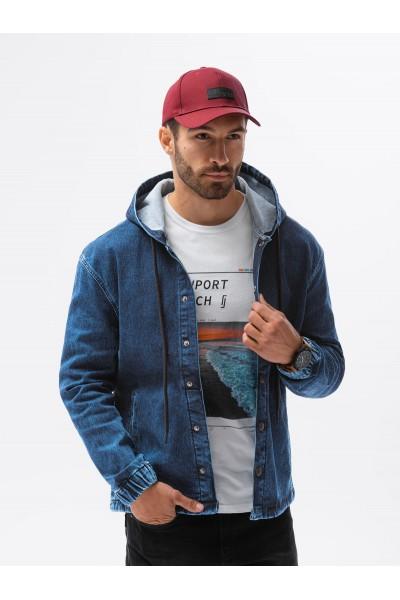 Куртка OMBRE джинсовая C477-ciemnoniebieska