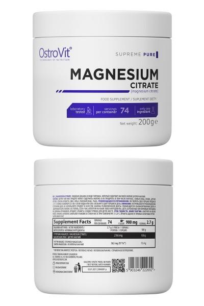 OstroVit Supreme Pure Magnesium Citrate 200g - магний