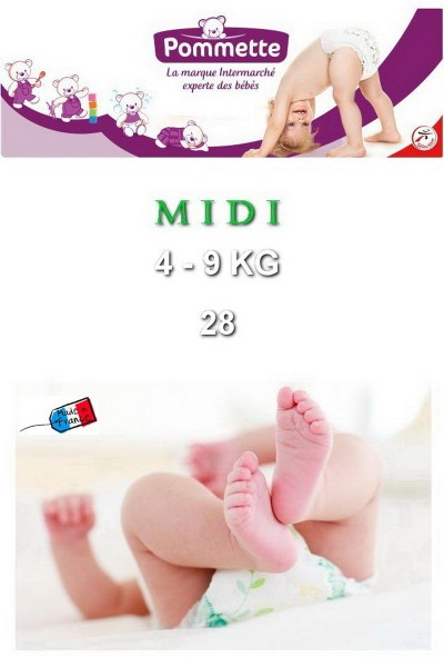 Подгузники Pommette PMT-MIDI 4-9 кг - 28 шт/уп