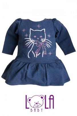 Платье LOLA Kotek синий стразы хлопок